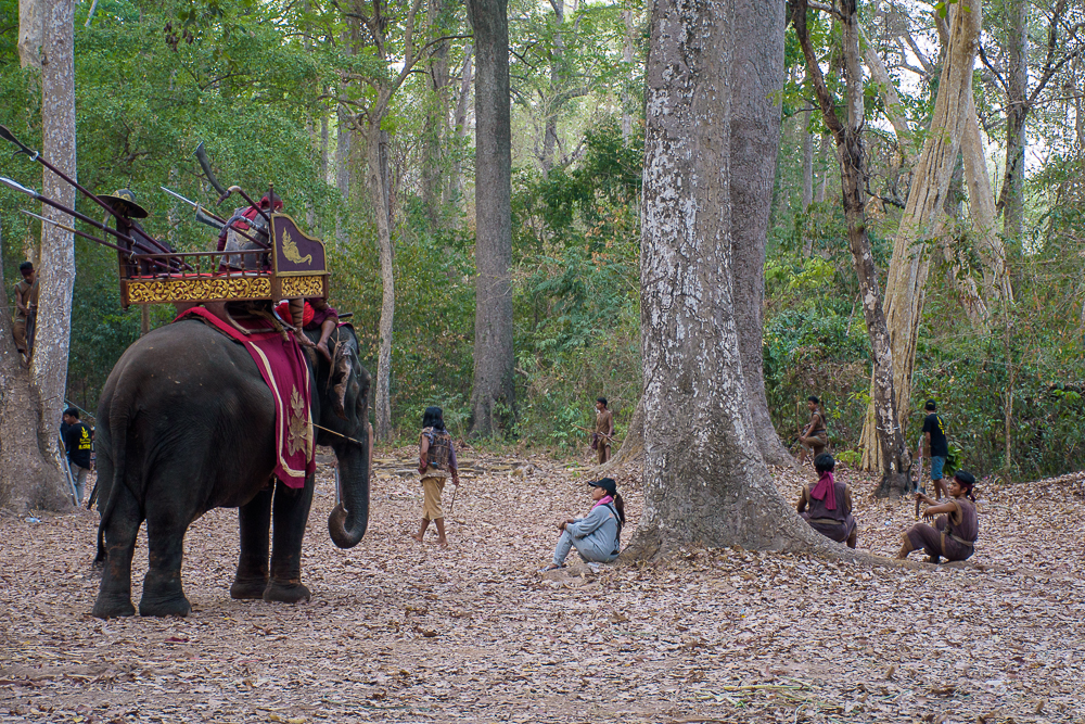 cambodian movie filming with elephants and the temples bayon temple, siem reap cambodia