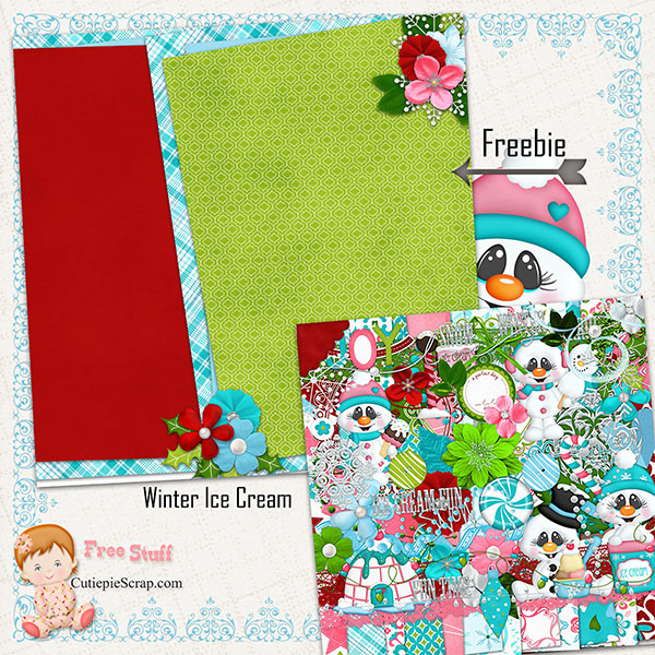 Winter Ice Cream Digital Scrapbook Kit + Freebie