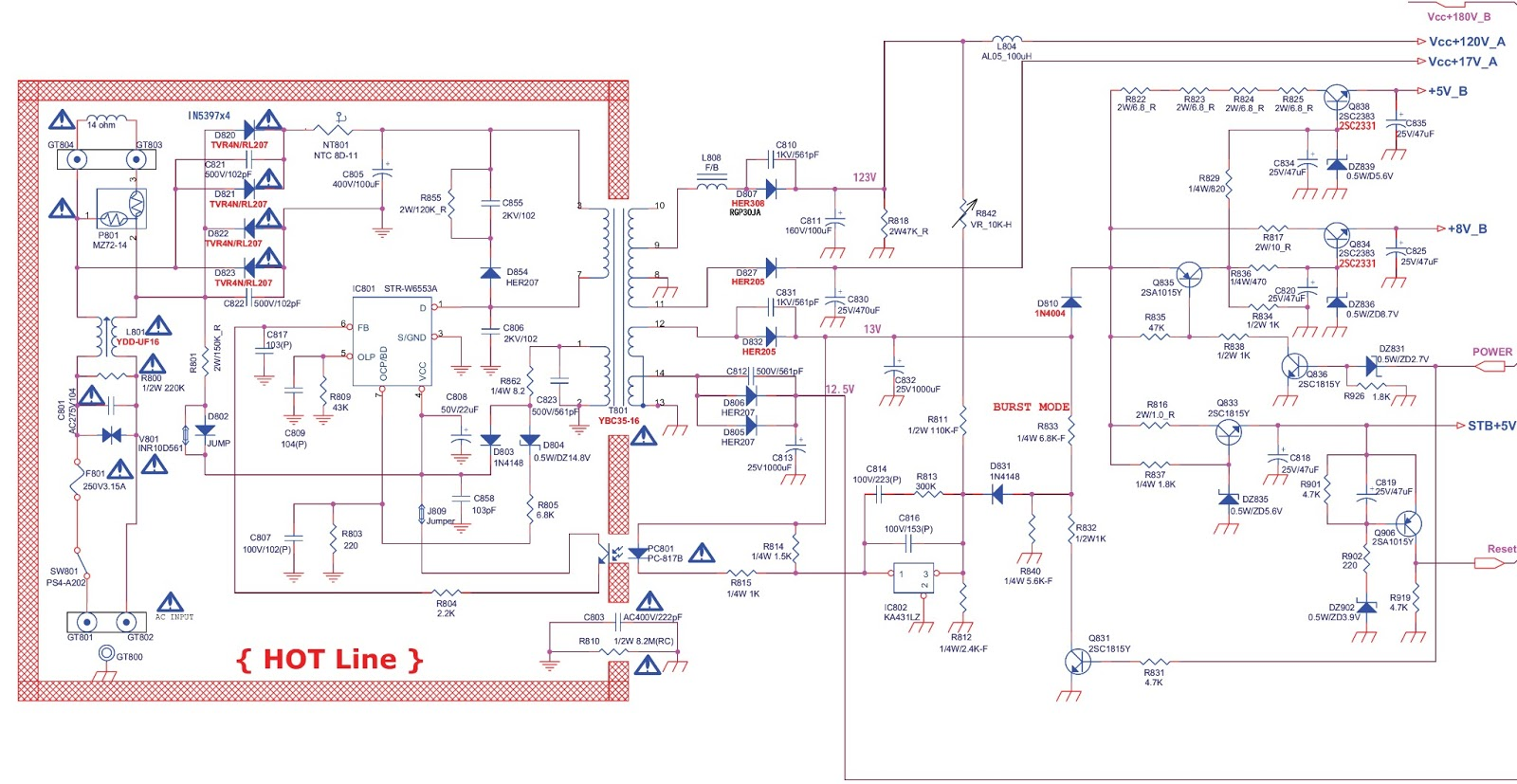 Str W6553a Based Smps Power Supply Regulator Schematic Diagram Circuit Used In Daewoo Tvs