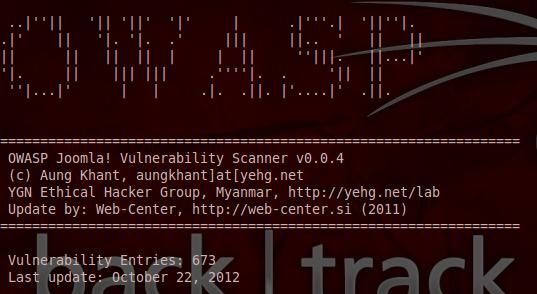 Joomscan permite Testar o seu site sobre os tipos de ataques XSS, SQL Injection, LFI, RFI, bruteforce