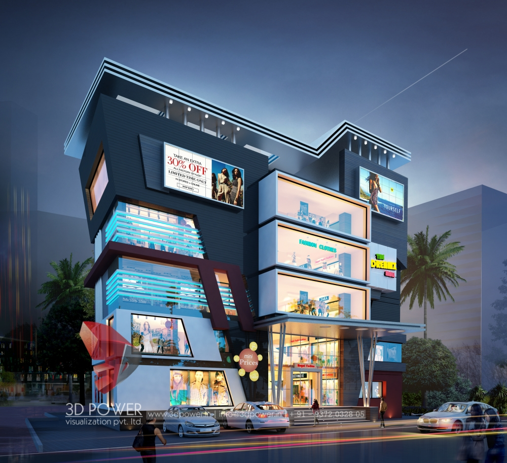 Architectural Rendering Of 3D Shopping Mall