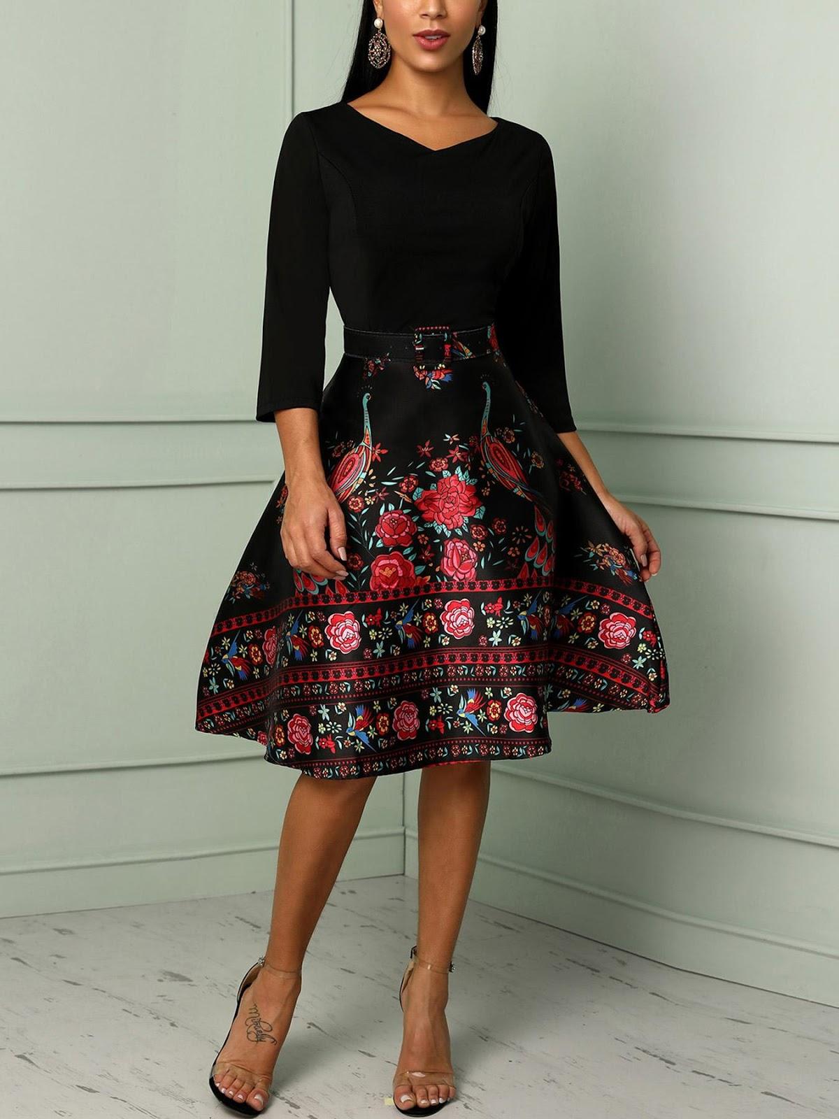 Floral Print Patchwork Belted Swing Dress