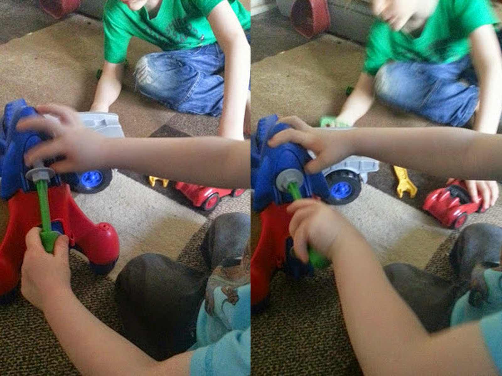 Children demonstrate grasping and twisting using play tools