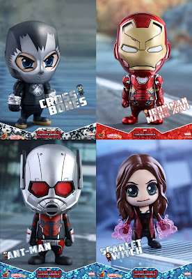 Captain America: Civil War Cosbaby Vinyl Figure Series by Hot Toys – Crossbones, Iron Man Mark XLVI, Ant-Man & Scarlet Witch