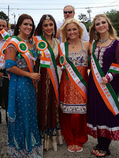 Aarti Chabria with Chelsea Clinton and Miss USA