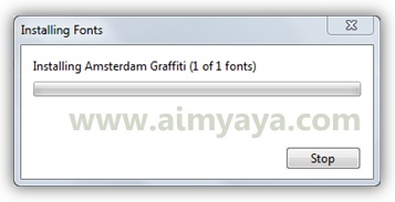 Gambar: Proses instal font di windows