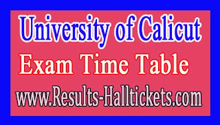 University of Calicut MA Malayalam Special Supply Apr 2016 Exam Time Table