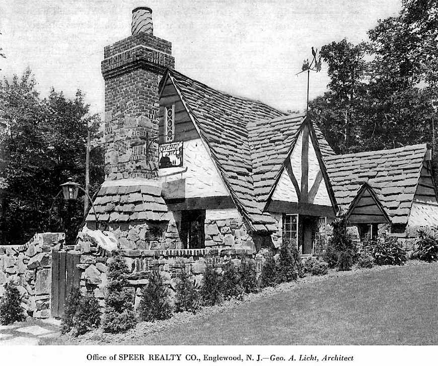 a photograph of a 1930 realty office made to look like a stylized house, showing a fantastic chimney