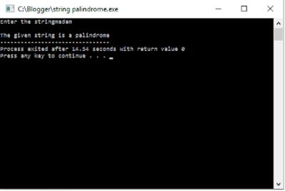 C program String palindrome second output
