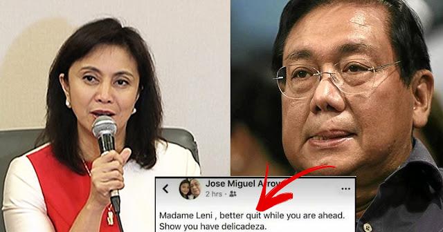 Miguel Arroyo kay VP Leni : Better Quit, Show your Delicadeza.