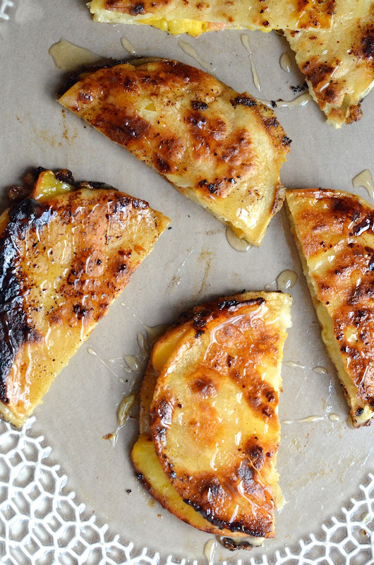 Peach, Cheddar & Honey Quesadillas