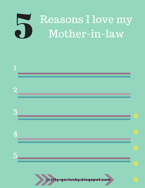 Printable Mother's Day Cards (FREE)--5 Reasons why I love my Mother Or Mother-in-Law