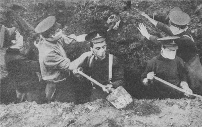 Trench digging in World War I.