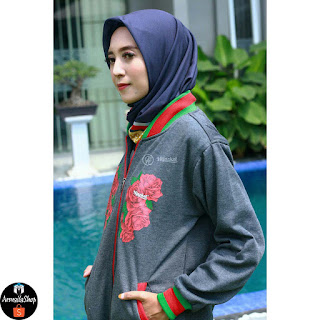 Jaket Muslimah Hijacket Casual Rose & Butterfly GREY Bahan Premium Fleece