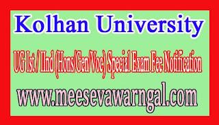 Kolhan University UG Ist / IInd (Hons/Gen/Voc) Special Exam Fee Notification