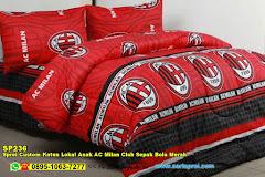 Sprei Custom Katun Lokal Anak AC Milan Club Sepak Bola Merah