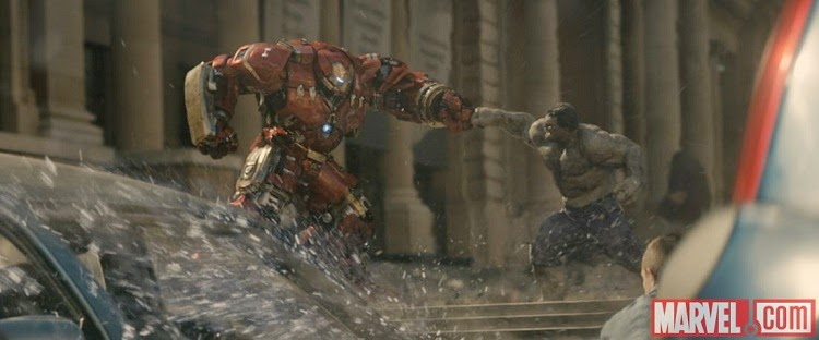Iron Man Hulkbuster armor Hulk fight in Avengers Age of Ultron