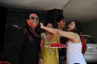 Govinda celeting Holi with His family wife daughter 011.JPG