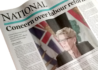 Newspaper cover from 2017, National Section (Kathleen Wynne) Orillia Packet & Times.