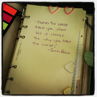 filofax, heart-shaped paperclips, page markers, inspirational quote,