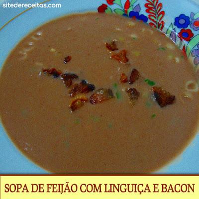 Sopa de feijão com linguiça e bacon