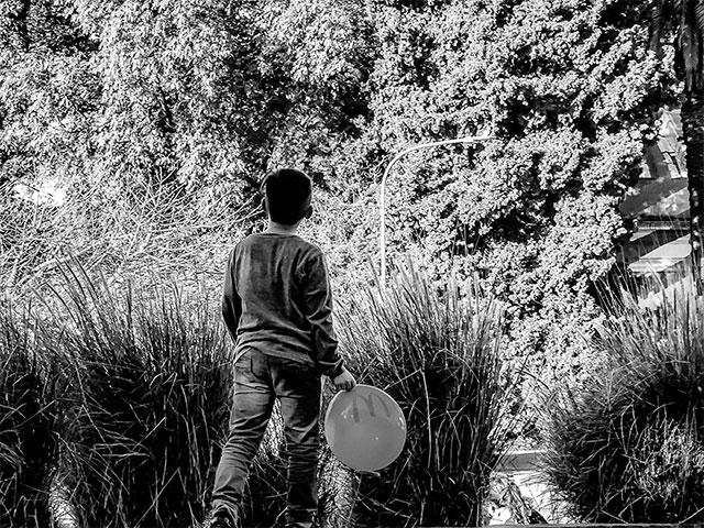 ByN. Niño de espalda mirando al frente y de fondo el follaje