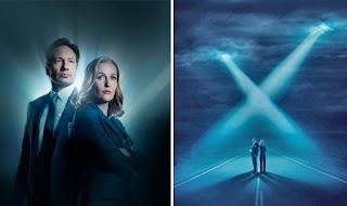 Díptico de Expediente X, a la izquierda Mulder y Scully, a la derecha la pareja bajo un dos haces provocados por sendos OVNIs