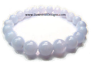 Blue Lace Agate Crystal Healing Bracelet by DHD blessed with Reiki