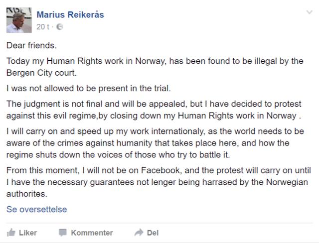 793d39ff Det er også flere i omgangskretsen rundt Reikerås som hevder at rettsaken  er ulovlig siden han ikke møtte opp i sin egen rettsak. Det er feil.