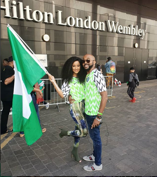 Banky W And Adesua Rock Matching Super Eagles Jerseys In London (Photo)