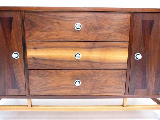 Stanley Mid-Century Walnut Rosewood Inlay Credenza Dresser Front Center