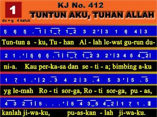 Lirik dan Not Kidung Jemaat 412 Tuntun Aku, Tuhan Allah