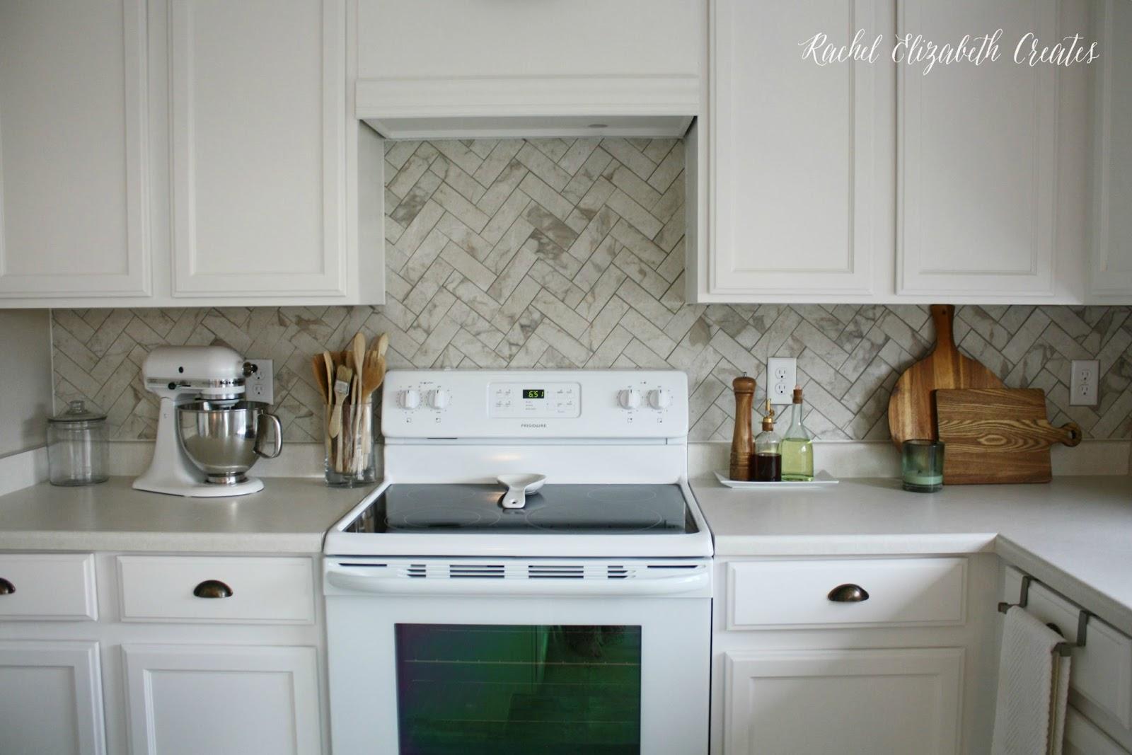 Herringbone Kitchen Backsplash Photos: $40 Carrara Marble Herringbone Inspired Backsplash