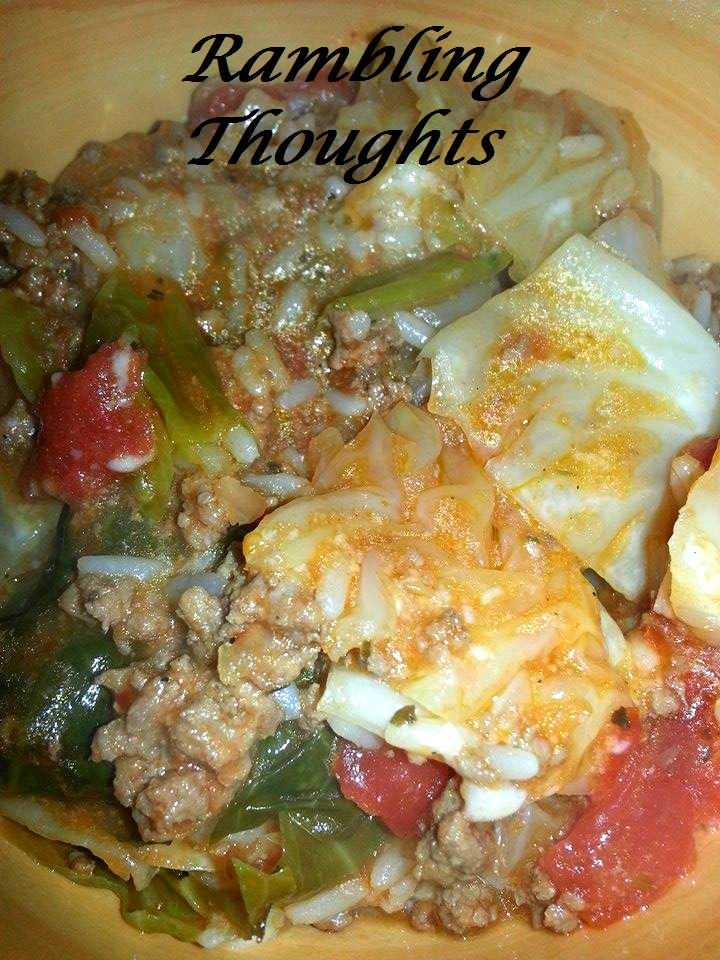 Ramblings Thoughts, Recipe, Cookbook Addition, Cabbage, Casserole, Tasty Tuesday