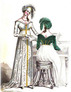 Evening dress   from La Belle Assemblée (Feb 1810)