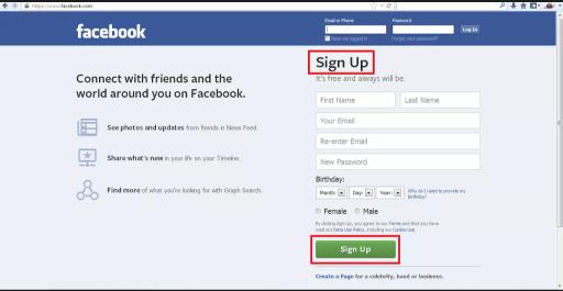 Facebook Sign Up Homepage