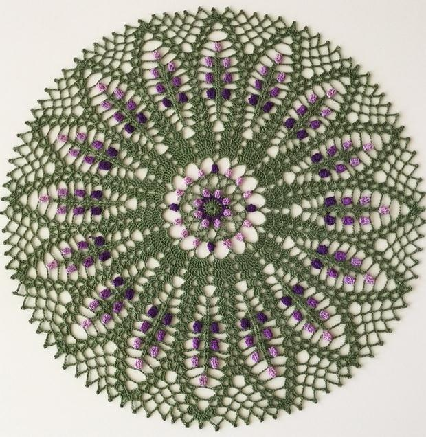 Crochet Doily Pattern round 23 rows no:28 green