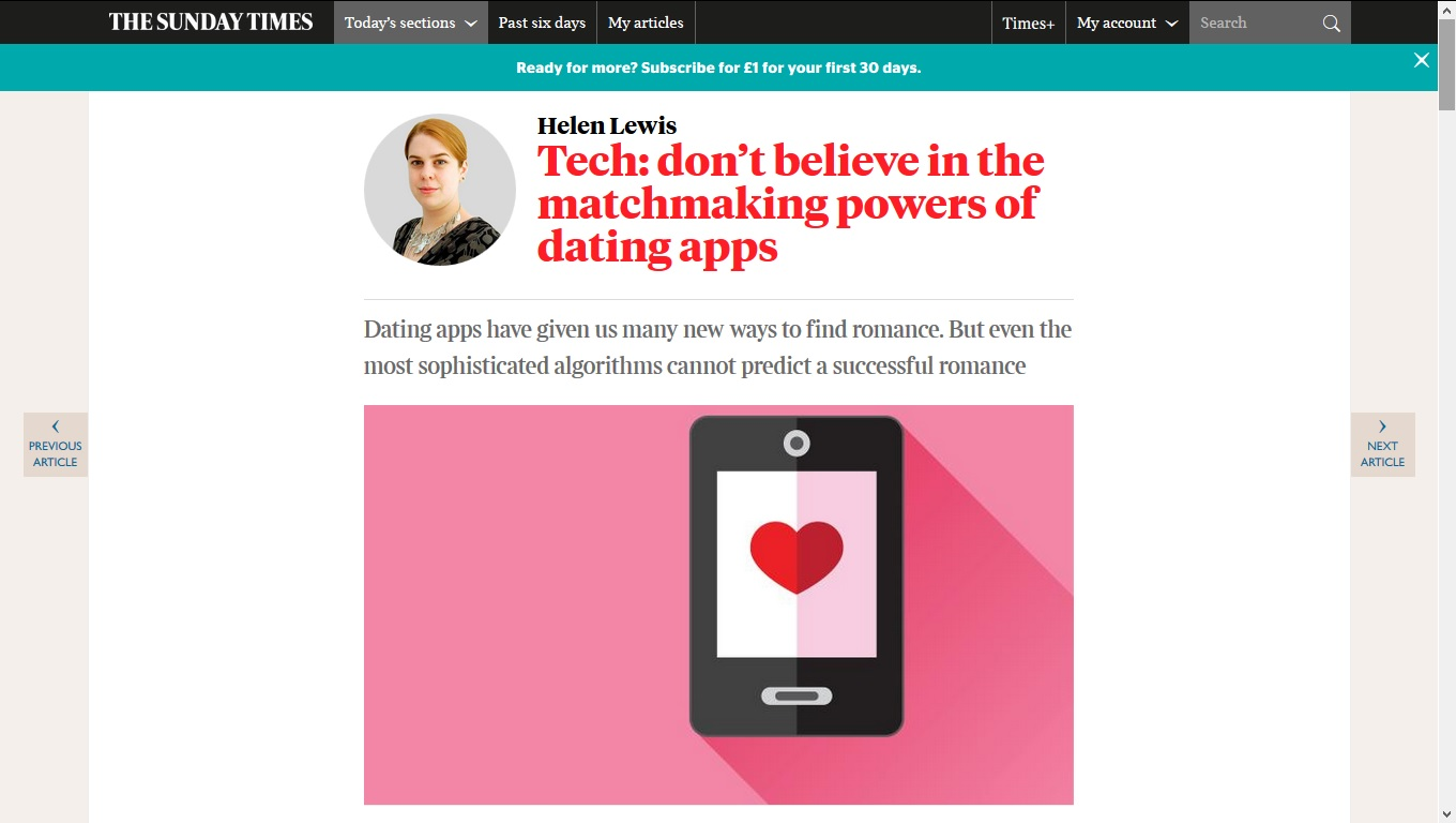 Time magazine article on online dating