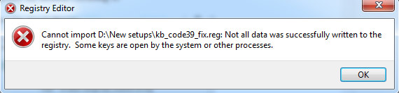 cannot import keys to registry