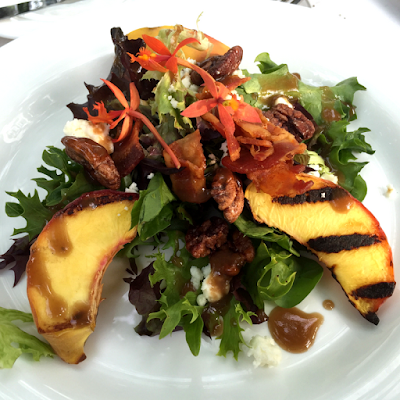 Summer Grilled Peach Salad with recipe by Johanna of Momma Cuisine