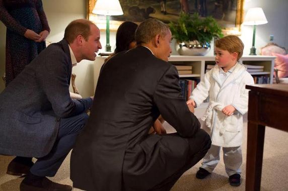 Photos: Little Prince George meets President Obama & Michelle at Kessington Palace