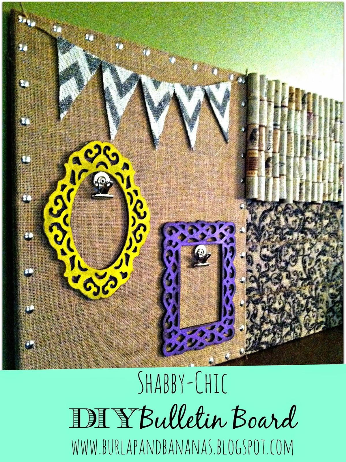 Burlap and Bananas: Shabby-Chic DIY Bulletin Board