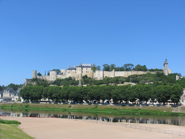 Chinon fortress high above the Vienne river in the Loire Valley
