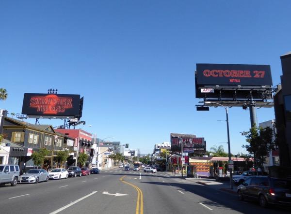 Stranger Things 2 neon sign billboards Sunset Strip
