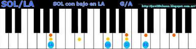 acorde piano chord sol con bajo en la