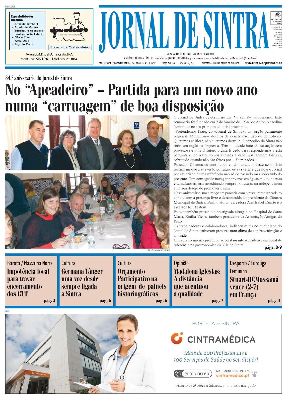 Capa da edição de 26-01-2018