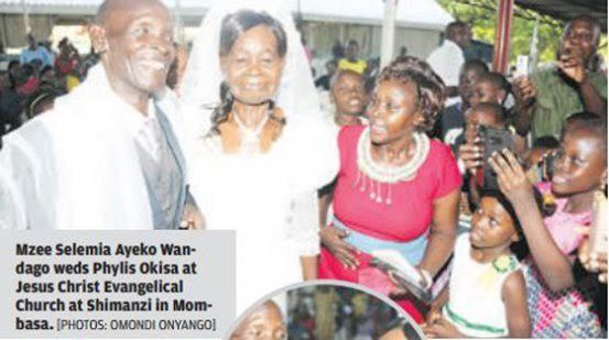 Photo: 58-year-old man marries 64-year-old woman he had been secretly admiring for 40 years