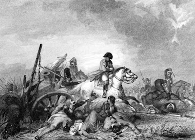 Retreat from Waterloo by J Gilbert engraved by AW Warren  from The Life of Field-Marshal His Grace the Duke of Wellington  by WH Maxwell (1852)