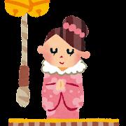 初詣のイラスト「女性のお参り」