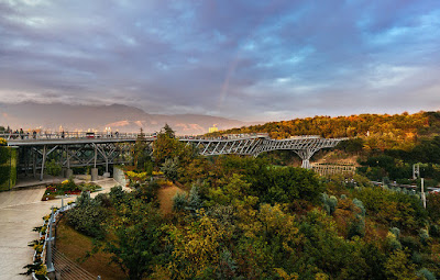 """Tabiat"" or Nature bridge passing over a park in Tehran."